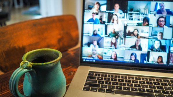 An online event on a laptop